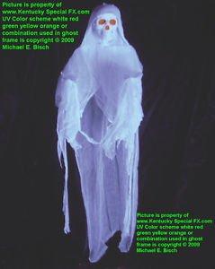 New White Floating Halloween Hanging Skeleton Ghost Decoration Prop Blacklight