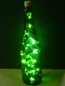 Holiday Spooky Bottle Decoration LED Light Up Halloween Witches Green Bar Wine