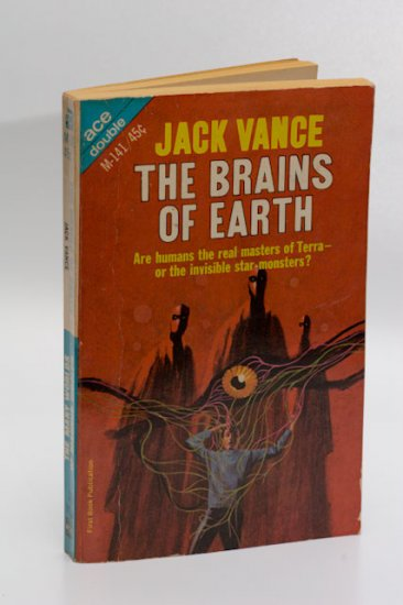Ace Double #M-141: The Brains of the Earth / The Many Worlds of Magnus Ridolph, both by Jack Vance