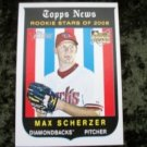 MAX SCHERZER Diamondbacks 2008 Topps News Heritage Rookie RC Baseball Card #519
