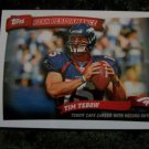 2010 TIM TEBOW Denver Bronco's Topps Peak Performance Football Card # PP2