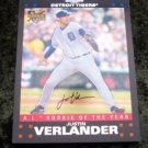 Justin Verlander Rookie RC 2007 Topps Chrome Baseball Card # 254 Detroit Tigers