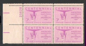 USA Scott #1089 3-c Architects Issue Plate Block MNH F-VF