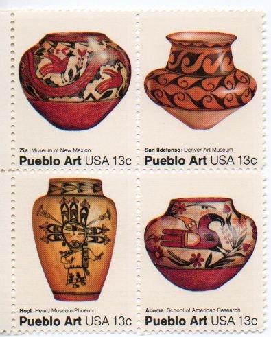 UNITED STATES Scott #1706-1709 13-c Pueblo Art Block of Four 1977 MNH