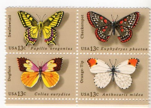 UNITED STATES Scott #1712-1715 Block of Four Butterflies 1977 MNH