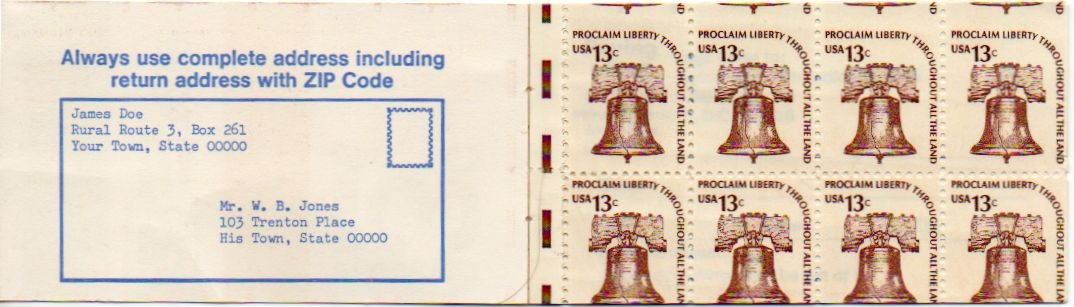 EFO USA Scott #1595 Liberty Bell Booklet Pane of 8, Miscut Error