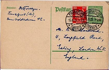 GERMANY Post-World War I Era Postcard Frankfurt to London 1925 Scott #332, 347
