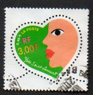 FRANCE Scott #2751 3,00fr/0.46E Yves St. Laurent Valentine's Day Heart Design Issued 2000