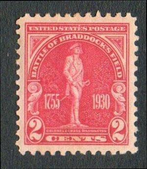 United States Scott #688 2-c Carmine Rose Battle of Braddocks Field/George Washington 1930 MH XF