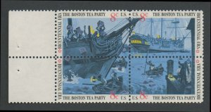United States Scott #1480-1483 Boston Tea Party Se-tenant Block of Four with Selvage 1973 MNH
