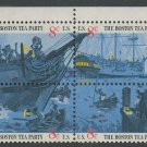 United States Scott #1480-1483 Boston Tea Party Se-Tenant  Block of Four Selvage on Top 1973 MNH