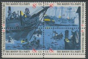 United States Scott #1480-1483 Boston Tea Party Se-Tenant Block of Four Selvage on Bottom 1973 MNH