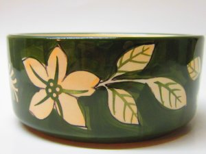 Adorable Ceramic Dish - Green - Flower and Leaf Accent