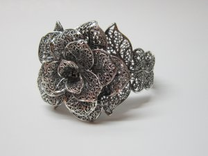 Beautiful Blooming Tibetan Silver Cuff Bracelet