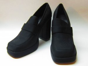 Edward Paul Black Fabric Covered Platform Heels Size 9