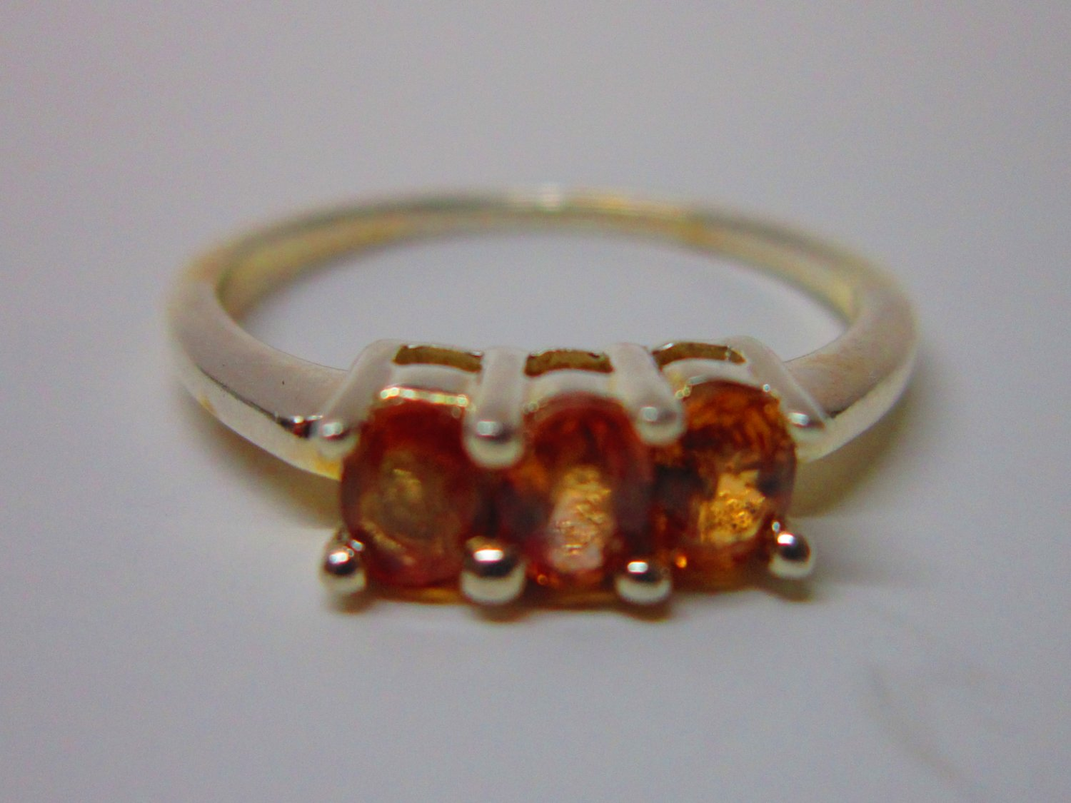 925 Silver Ring with three Orange Sapphire Gem Stones US6.5