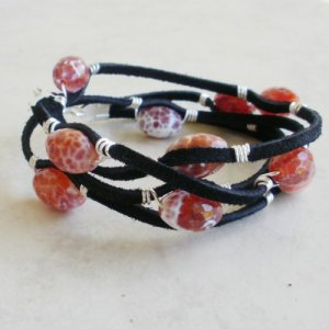 Wire Wrapped Faceted Red Agate Leather Wrap Bracelet