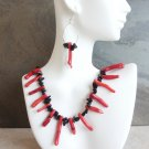 Nina - Red Coral And Onyx Necklace And Earring Set