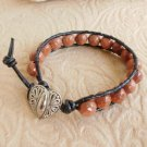 Faceted Goldstone Beaded Leather Wrap Bracelet with Heart