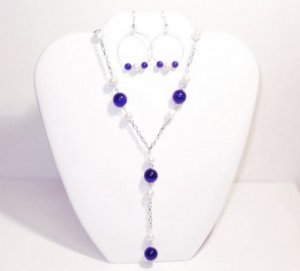 Emily - Cobalt Blue Cats Eye and Freshwater Pearl Necklace Set