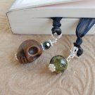 Skull and Crystal Beaded Bookmark Jewels Book Thong