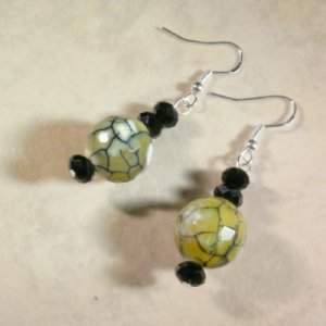 Green Black Faceted Fire Agate Earrings
