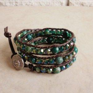 Green Variscite Beaded Leather Wrap Bracelet - Reserved