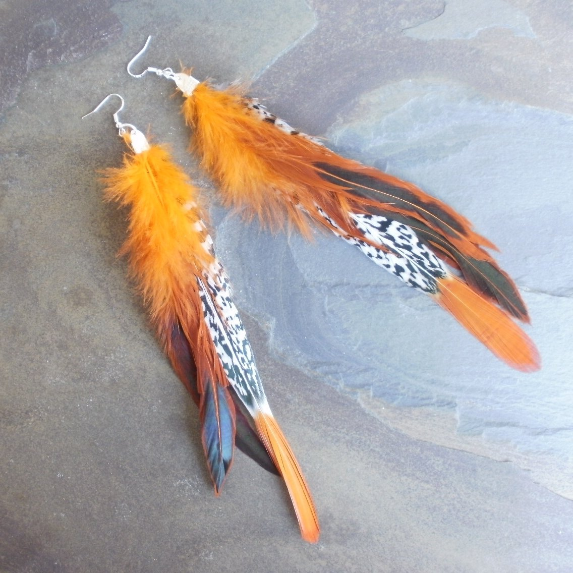 Pheasant Tail Feather Earrings Extra Long Orange Black 8 Inch
