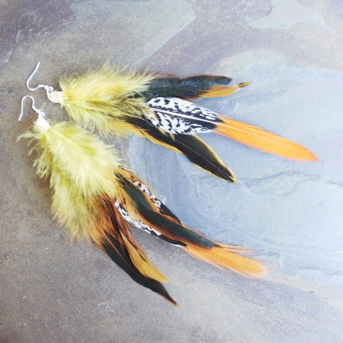 Pheasant Tail Feather Earrings Extra Long Yellow Black 8 Inch
