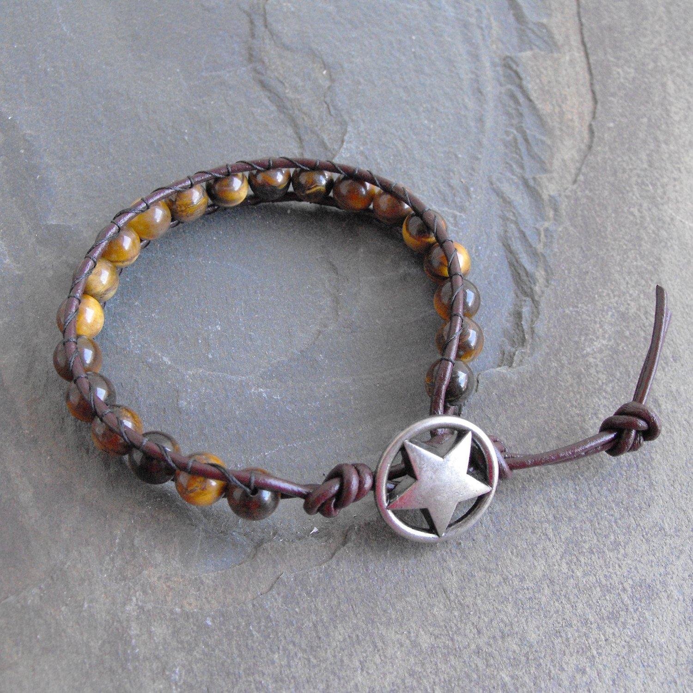 Brown Tiger Eye Stone Beaded Leather Wrap Bracelet