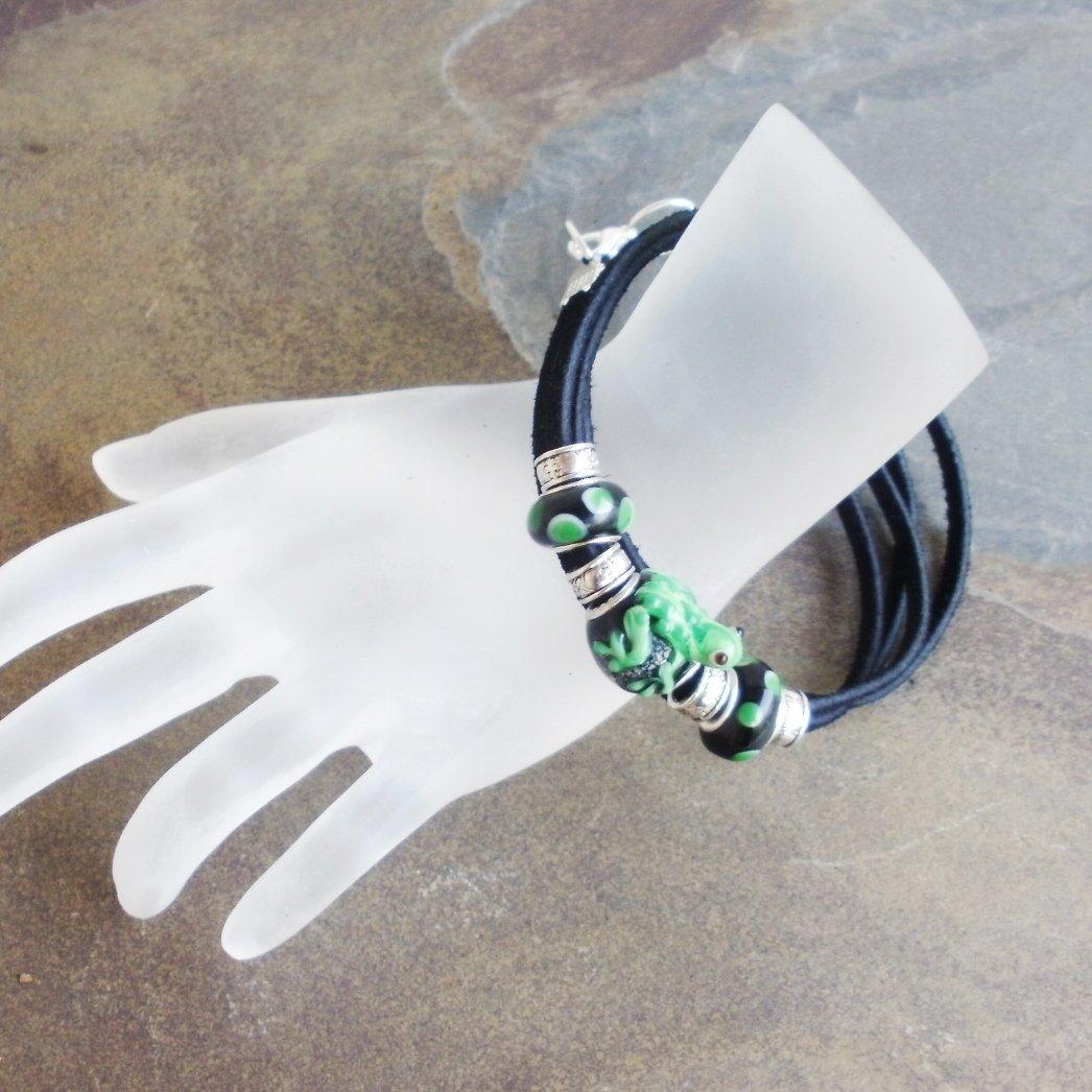 Frog Lampwork Glass Leather Wrap Bracelet