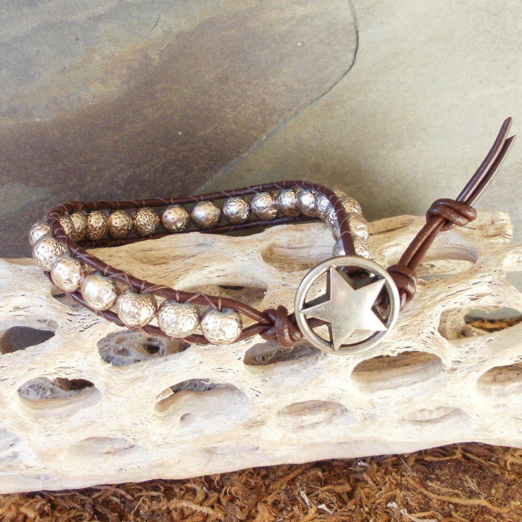 Silver Finish Beaded Leather Wrap Bracelet