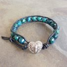 Faceted Azurite Chrysocolla Leather Wrap Bracelet