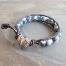 Faceted Green Fire Agate Beaded Leather Wrap Bracelet