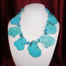 Emily - Super Chunky Natural Freeform Turquoise Slab Statement Necklace
