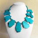 Emily II - Super Chunky Natural Freeform Turquoise Slab Statement Necklace
