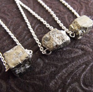 Meteor - Solitaire Iron Pyrite Nugget Necklace - One Piece