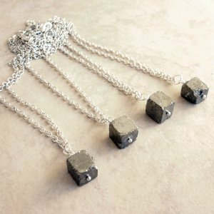 Asteroid - Solitaire Iron Pyrite Nugget Pendant Necklace - One Piece
