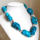 Madison - Super Chunky Freeform Turquoise Nugget Necklace