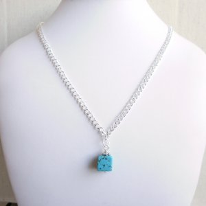 Turquoise Cube Pendant Drop Necklace