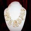 Corinna - Super Chunky Natural Freeform White Beige Turquoise Slab Statement Necklace