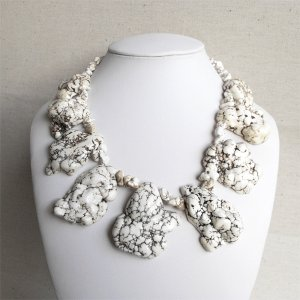 Corinna II - Super Chunky Natural Freeform White Beige Turquoise Slab Statement Necklace