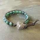 Smooth Moss Agate Beaded Leather Wrap Bracelet