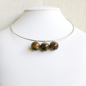 Silver Choker with Giant Brown Tiger Eye Beads