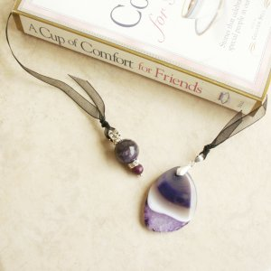 Purple Amethyst Gemstone Beaded Bookmark Jewel Book Thong