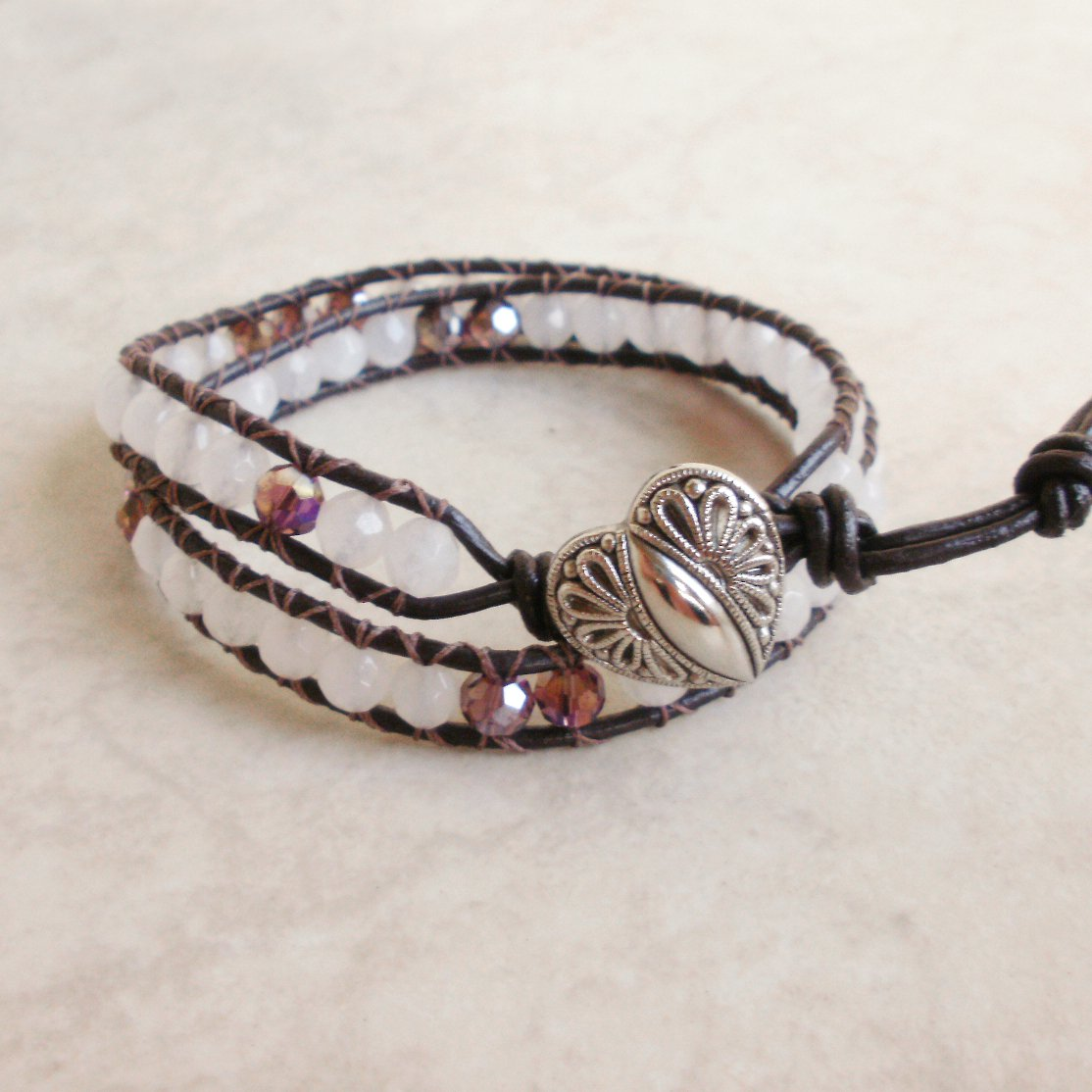 Rose Quartz Beaded Leather Wrap Bracelet