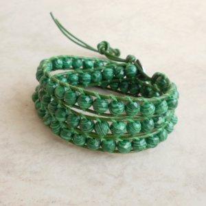 Malachite Beaded Stack Triple Wrap Leather Bracelet