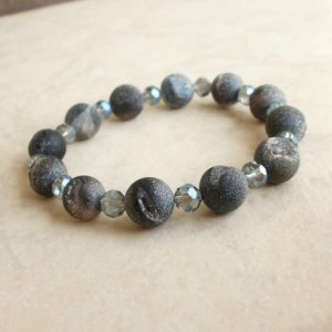 Frosted Black Druzy Agate and Crystal Bracelet