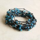 Frosted Blue Seed Beaded Birds Nest Leather Wrap Bracelet
