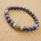 Mens Lapis Lazuli Pyrite and Leopard Jasper Gemstone Bracelet